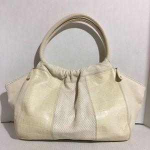 Furla snake skin/ Embossed leather tote handbag